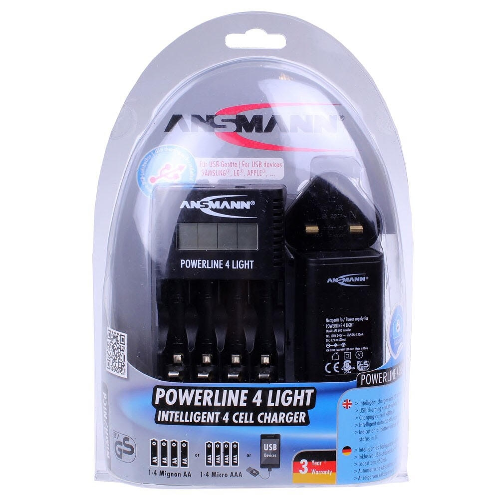 Ansmann Powerline 4 Light Battery Charger With USB Charger