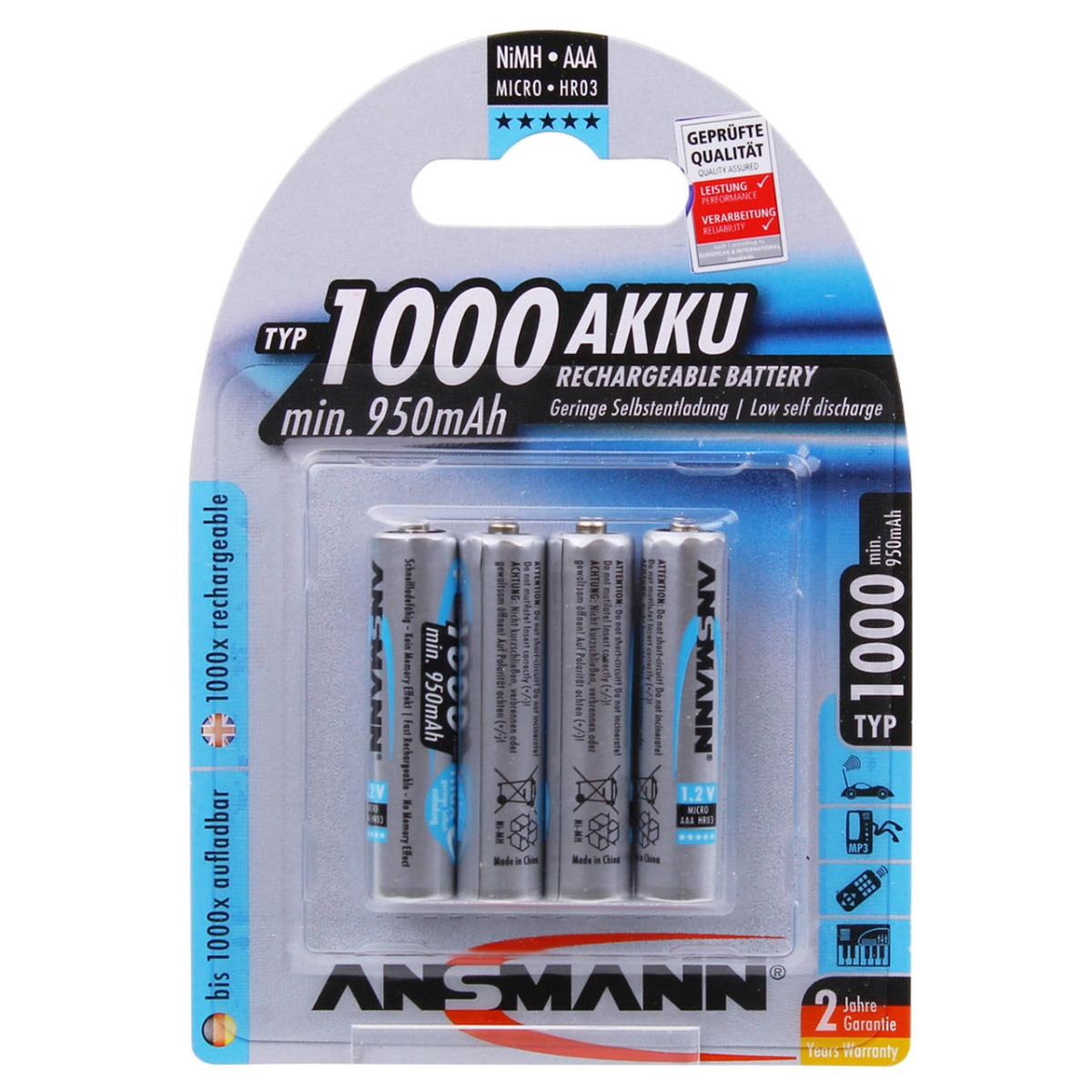Ansmann High Capacity Max-E AAA HR03 1000mAh Pre-Charged Rechargeable Batteries | 4 Pack