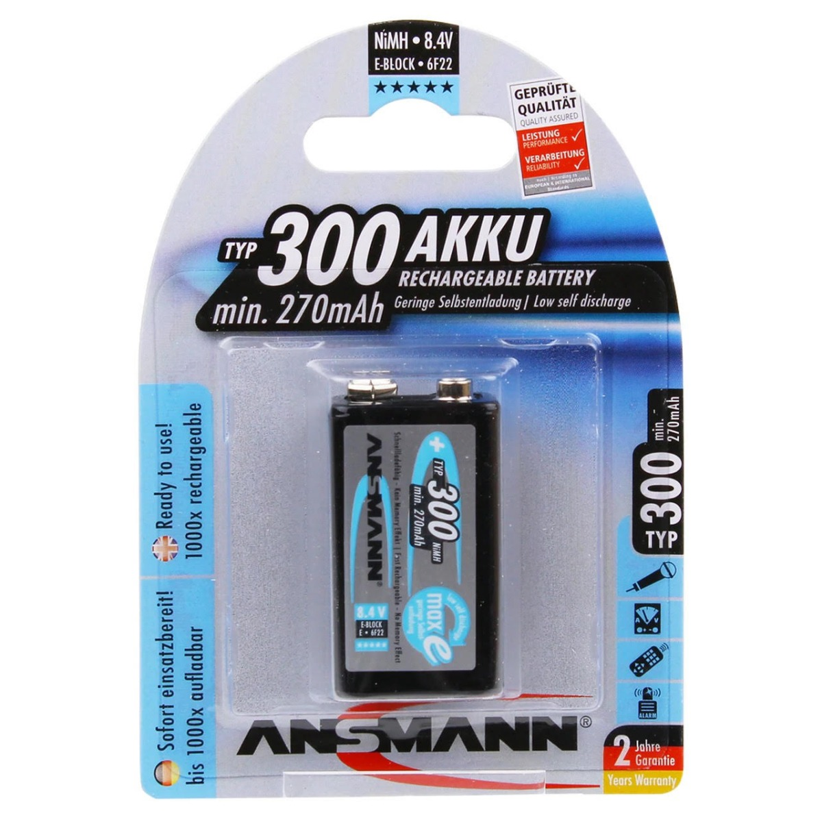 Ansmann Max-E 9V PP3 HR22 300mAh Pre-Charged Rechargeable Batteries   1 Pack