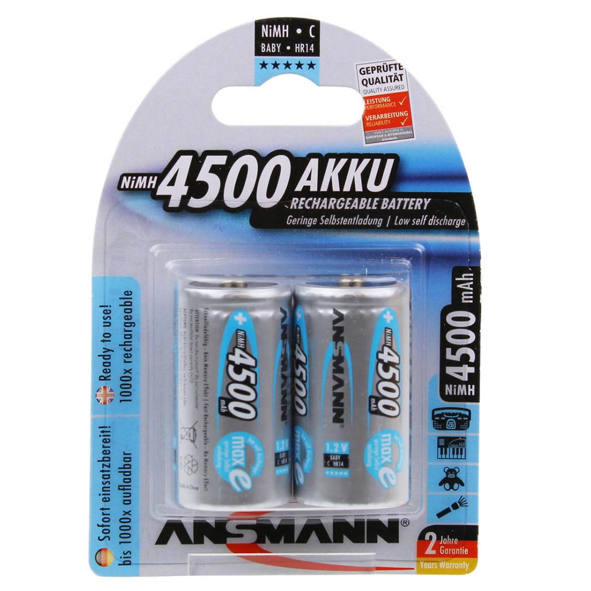 Ansmann Max-E C HR14 4500mAh Pre-Charged Rechargeable Batteries   2 Pack