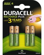 Duracell Recharge Plus AAA HR03 750mAh Rechargeable Batteries | 4 Pack