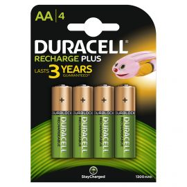 Duracell Recharge Plus AA LR6 1300mAh Rechargeable Batteries | 4 Pack
