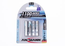 Ansmann High Capacity Max-E AAA HR03 1100mAh Pre-Charged Rechargeable Batteries | 4 Pack