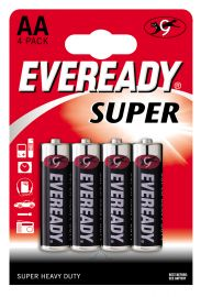 Eveready Super Heavy Duty AA LR6 Zinc Carbon Batteries | 4 Pack