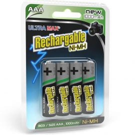 Ultramax AAA HR03 1000mAh Pre-Charged Rechargeable Batteries | 4 Pack