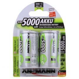 Ansmann Max-E D HR20 5000mAh Pre-Charged Rechargeable Batteries | 2 Pack