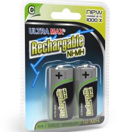 Ultramax C HR14 2500mAh Rechargeable Batteries | 2 Pack