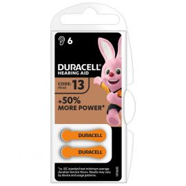 Duracell Size 13 | Orange | Hearing Aid Batteries | 6 Pack