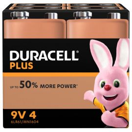 Duracell Plus 9V 6LR61 PP3 Batteries | 4 Pack