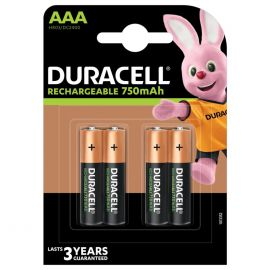 Duracell Rechargeable AAA HR03 750mAh Rechargeable Batteries | 4 Pack