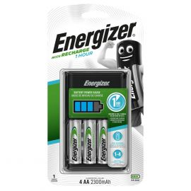 Energizer 1 Hour Battery Charger | Inc 4 x 2300mAh AA Extreme Rechargeable Batteries