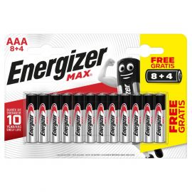 Energizer Max AAA LR03 Alkaline Batteries (8+4) | 12 Pack