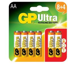 GP Ultra AA LR6 Alkaline Batteries | 8+4 (12) Pack