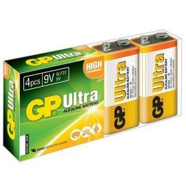 GP Ultra Alkaline 9V PP3 6LR61 Batteries | 4 Pack