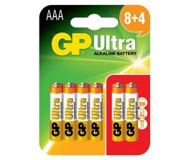 GP Ultra AAA LR03 Alkaline Batteries | 8+4 (12) Pack