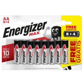 Energizer Max AA LR6 Alkaline Batteries (8+4) | 12 Pack