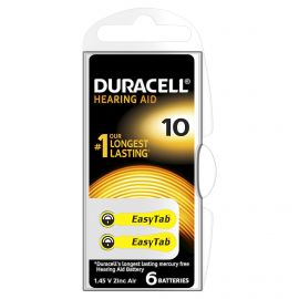 Duracell SIze 10 | Yellow | Hearing Aid Batteries | 6 Pack