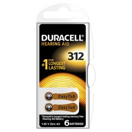 Duracell Size 312 | Brown | Hearing Aid Batteries | 6 Pack