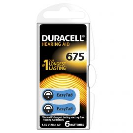 Duracell Size 675 | Blue | Hearing Aid Batteries | 6 Pack