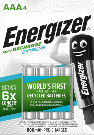 Energizer Extreme AAA HR03 800mAh Pre-charged Rechargeable Batteries | 4 Pack
