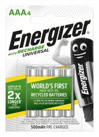 Energizer Universal AAA HR03 500mAh Rechargeable Batteries | 4 Pack