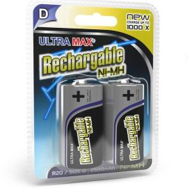 Ultramax D HR20 2500mAh Rechargeable Batteries | 2 Pack