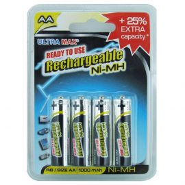 Ultramax AA HR6 1000mAh Pre-Charged Rechargeable Batteries | 4 Pack