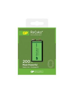 GP ReCyko+ 9V PP3 200mAh Rechargeable Battery | 1 Pack