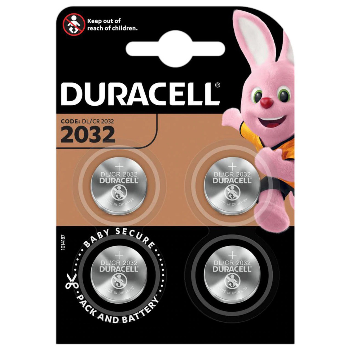 Duracell CR2032 DL2032 Coin Cell Lithium Batteries   4 Pack