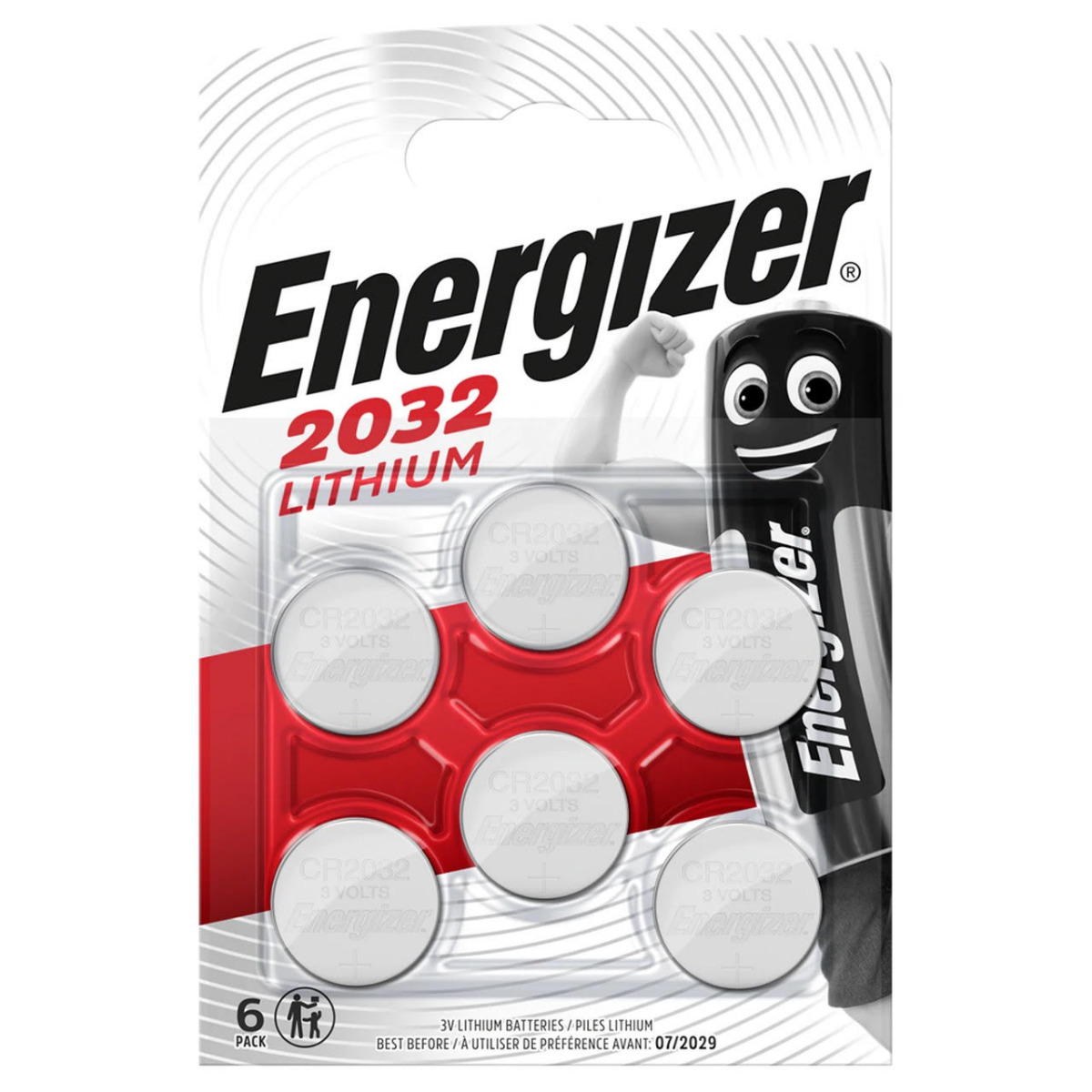 Energizer CR2032 Coin Cell 3V Lithium Batteries | 6 Pack