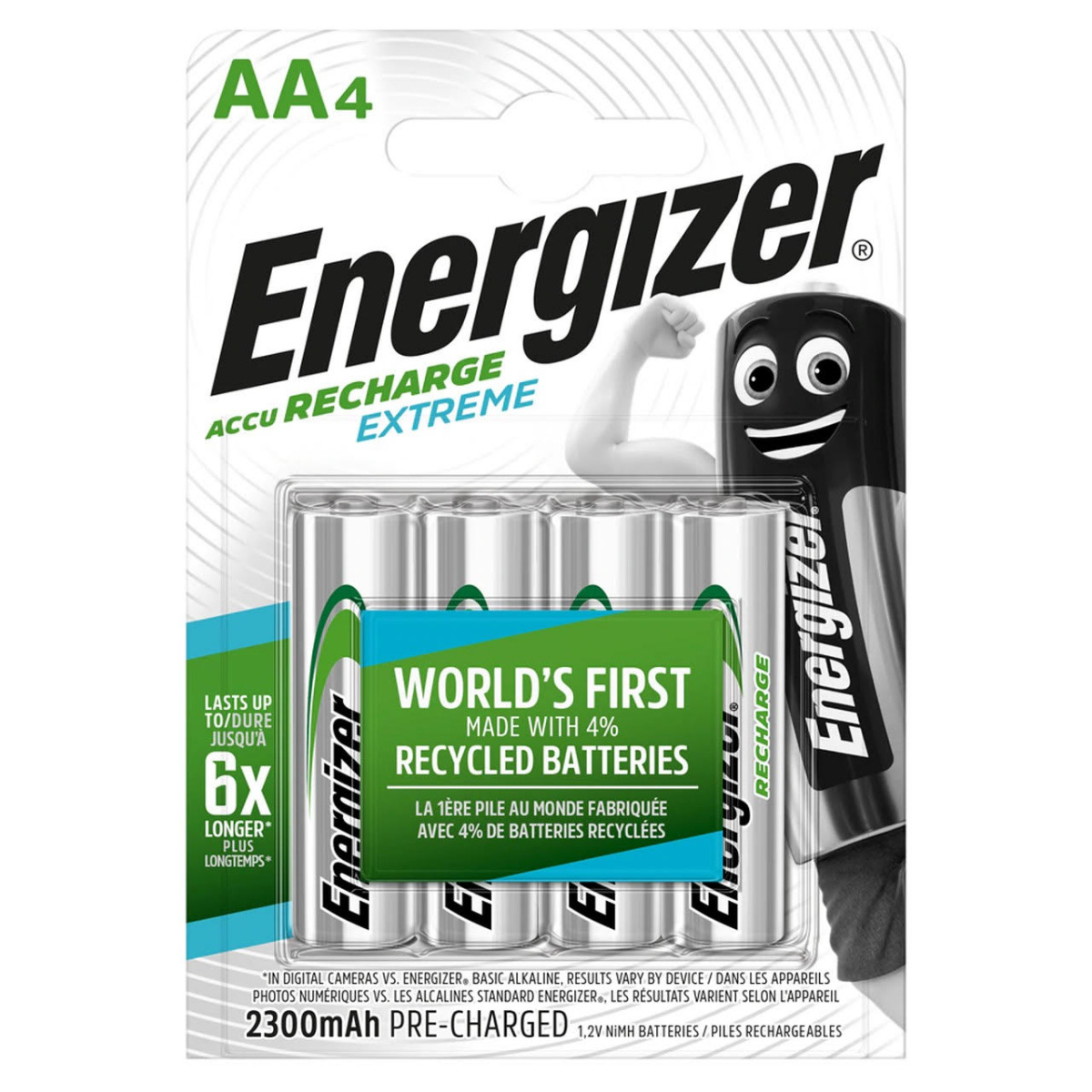 Energizer Extreme AA HR6 2300mAh Pre-charged Rechargeable Batteries   4 Pack