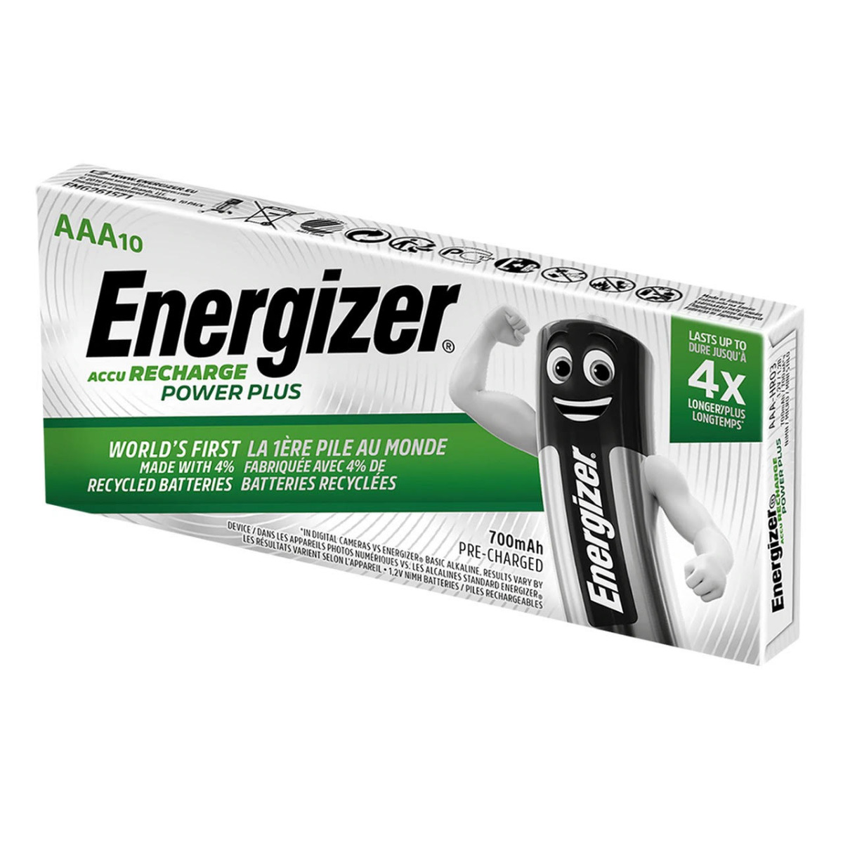 Energizer Power Plus AAA HR03 700mAh Pre-charged Rechargeable Batteries | 10 Pack