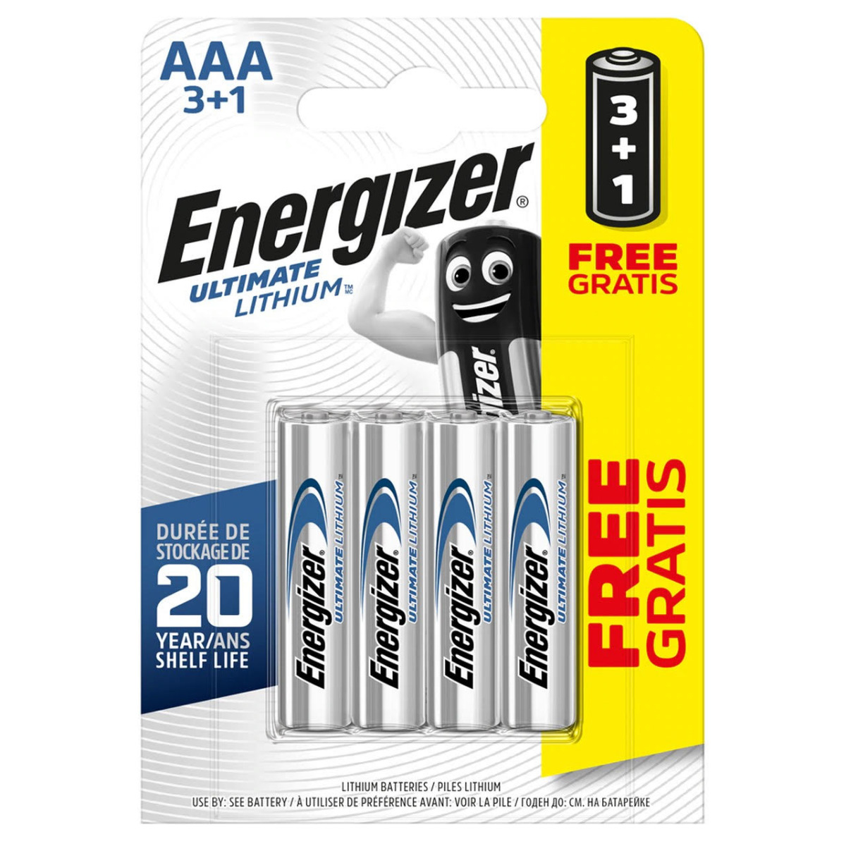 Energizer Ultimate Lithium AAA LR03 L92 Batteries   4 Pack