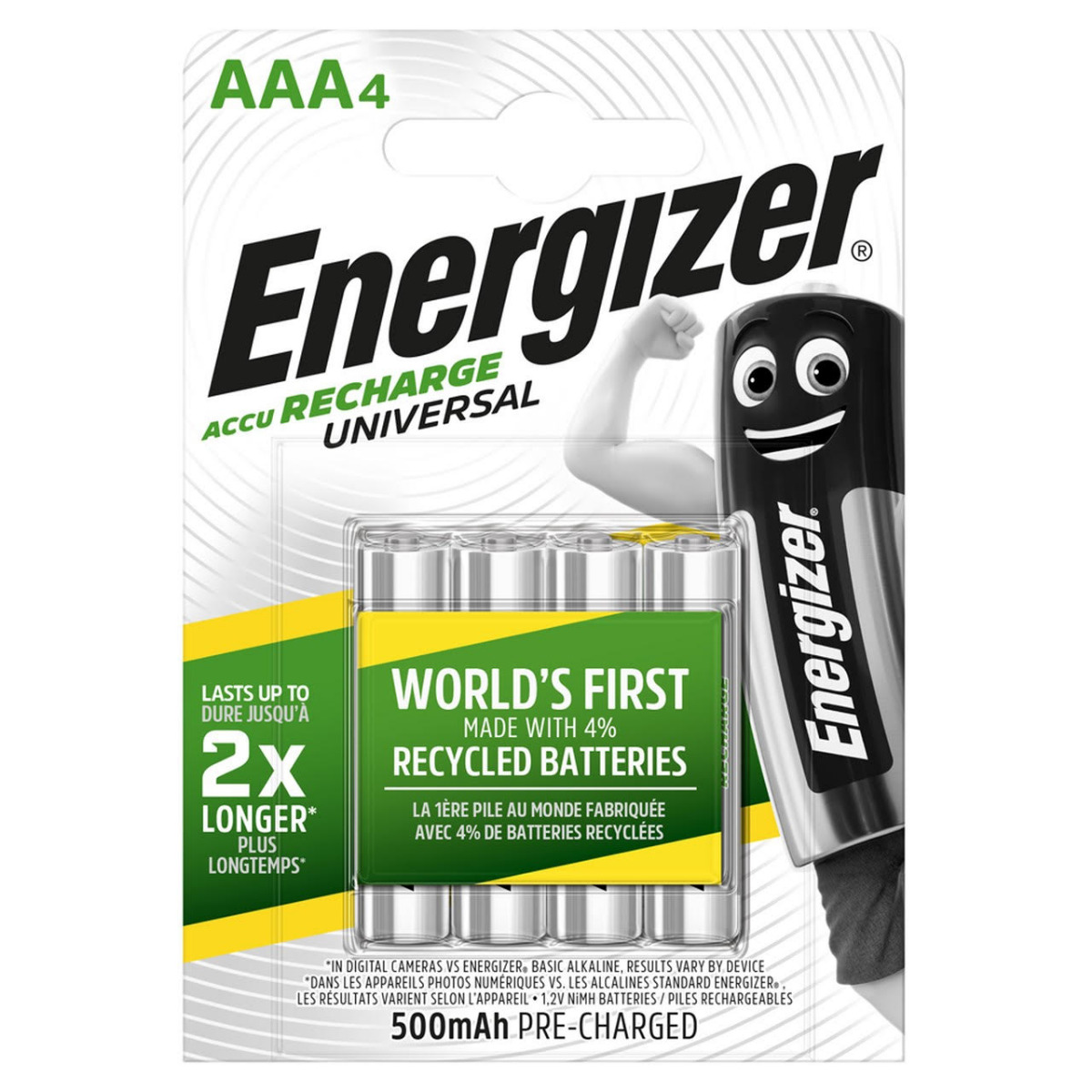 Energizer Universal AAA HR03 500mAh Rechargeable Batteries   4 Pack