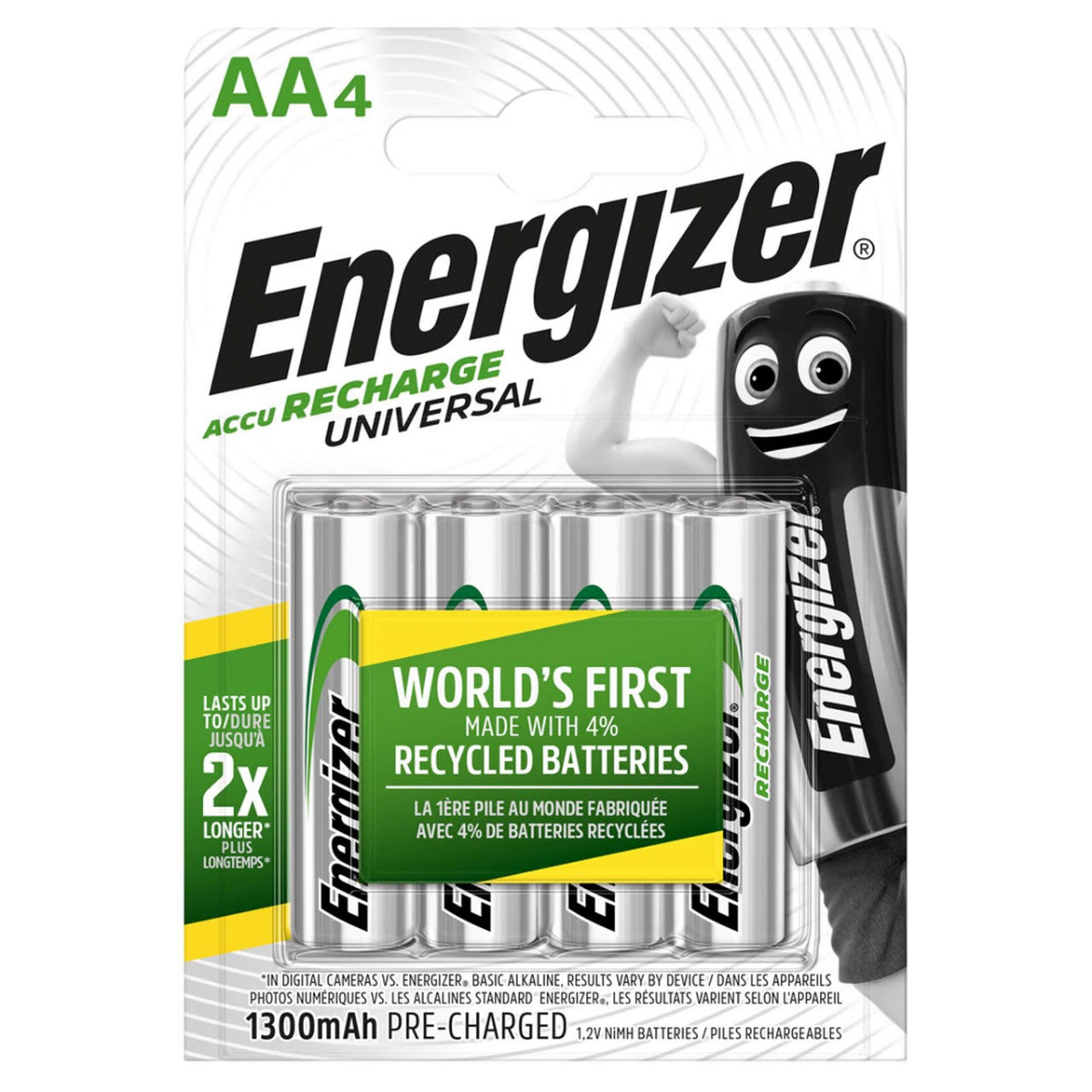 Energizer Universal AA HR6 1300mAh Rechargeable Batteries | 4 Pack