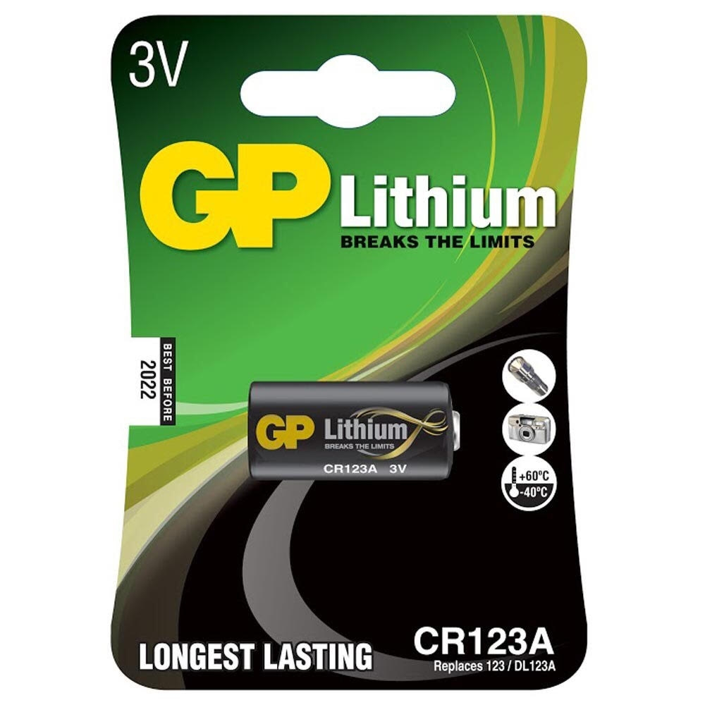 GP CR123A Lithium Battery   1 Pack