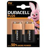 Duracell Plus Power 9V 6LR61 PP3 Batteries | 2 Pack